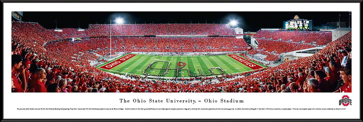 Ohio State Buckeyes Football Band Script Panoramic Photo 135 X 40