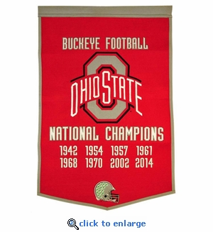Ohio State Buckeyes National Champions Dynasty Wool Banner (24 X 36)