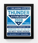 Oklahoma City Thunder Dual Tone Modern Team Print Framed