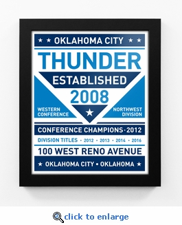 Oklahoma City Thunder Dual Tone Team Sign Print Framed