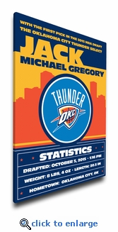 Oklahoma City Thunder Personalized Canvas Birth Announcement - Baby Gift