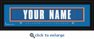 Oklahoma City Thunder Personalized Stitched Jersey Nameplate Framed Print
