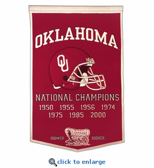 Oklahoma Sooners National Champions Dynasty Wool Banner (24 X 36)