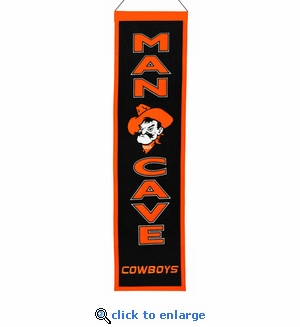 Oklahoma State Cowboys Man Cave Wool Banner (8 x 32)