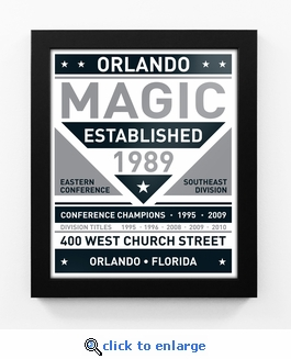 Orlando Magic Black and White Team Sign Print Framed