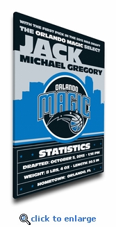Orlando Magic Personalized Canvas Birth Announcement - Baby Gift