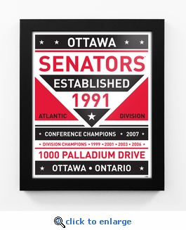 Ottawa Senators Dual Tone Team Sign Print Framed