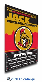 Ottawa Senators Personalized Canvas Birth Announcement - Baby Gift