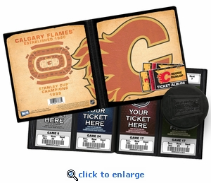 Personalized Calgary Flames Ticket Album - Vintage Design