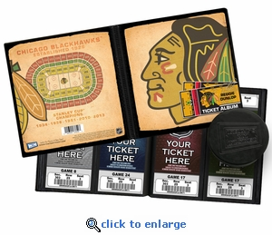 Personalized Chicago Blackhawks Ticket Album - Vintage Design