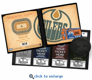 Personalized Edmonton Oilers Ticket Album - Vintage Design