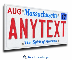 Personalized Massachusetts License Plate Print on Canvas