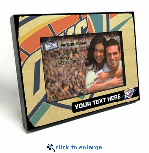 Oklahoma City Thunder Personalized Black Wood Edge 4x6 inch Picture Frame