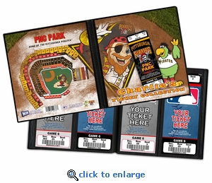 Personalized Pittsburgh Pirates Mascot Ticket Album - Captain Jolly Roger and Pirate Parrot