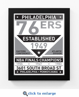 Philadelphia 76ers Black and White Team Sign Print Framed