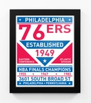 Philadelphia 76ers Dual Tone Team Sign Print Framed