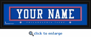 Philadelphia 76ers Personalized Stitched Jersey Nameplate Framed Print