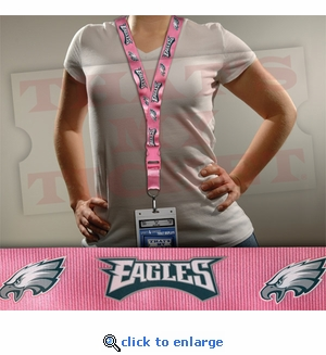 Philadelphia Eagles NFL Lanyard Key Chain and Ticket Holder - Pink