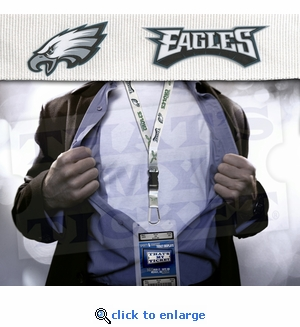 Philadelphia Eagles NFL Lanyard Key Chain and Ticket Holder - White