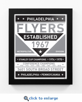 Philadelphia Flyers Black and White Team Sign Print Framed