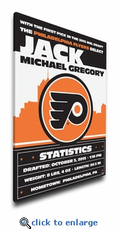 Philadelphia Flyers Personalized Canvas Birth Announcement - Baby Gift