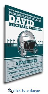 Philadelphia Football Themed Personalized Canvas Birth Announcement - Nursery Decor