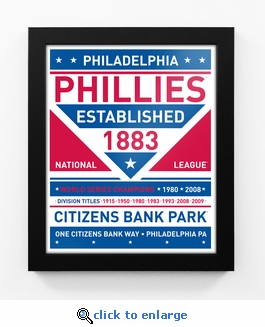 Philadelphia Phillies Dual Tone Team Sign Print Framed