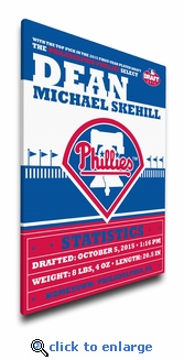Philadelphia Phillies Personalized Canvas Birth Announcement - Baby Gift