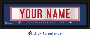 Philadelphia Phillies Personalized Stitched Jersey Nameplate Framed Print