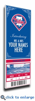 Philadelphia Phillies Personalized Special Occasion Announcement on Canvas - Ticket Design