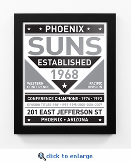 Phoenix Suns Black and White Team Sign Print Framed