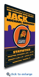 Phoenix Suns Personalized Canvas Birth Announcement - Baby Gift