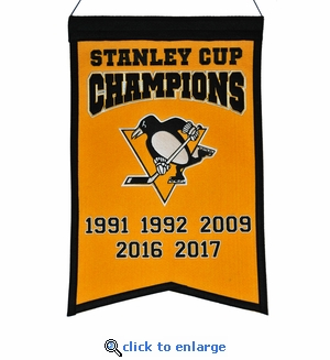 Pittsburgh Penguins 5-Time Stanley Cup Champions Wool Banner (14 x 22)