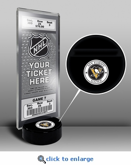 Pittsburgh Penguins My First Game Hockey Puck Ticket Stand
