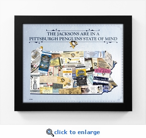 Pittsburgh Penguins Personalized State of Mind Framed Print - Pennsylvania