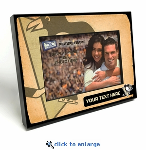 Pittsburgh Penguins Personalized Vintage Style Black Wood Edge 4x6 inch Picture Frame