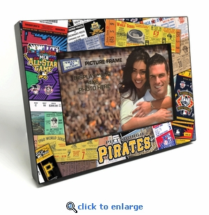 Pittsburgh Pirates Ticket Collage Black Wood Edge 4x6 inch Picture Frame