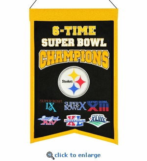Pittsburgh Steelers 6-Time Super Bowl Champions Wool Banner (14 x 22)