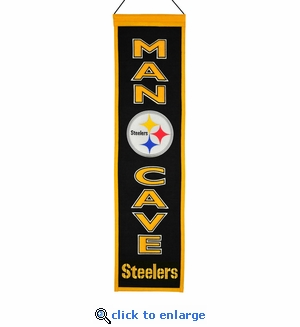Pittsburgh Steelers Man Cave Wool Banner (8 x 32)