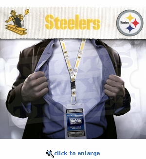 Pittsburgh Steelers NFL Lanyard Key Chain and Ticket Holder - White