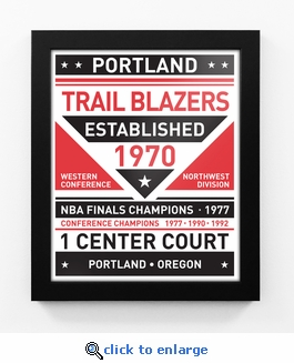 Portland Trail Blazers Dual Tone Team Sign Print Framed