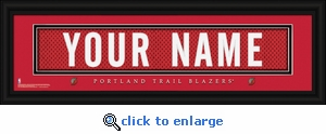 Portland Trail Blazers Personalized Stitched Jersey Nameplate Framed Print