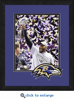 Ray Lewis/Baltimore Ravens Framed Super Bowl 47 Celebration w/ Vince Lombardi Trophy Photo