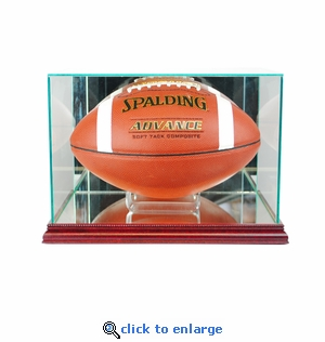 Rectangle Football Display Case - Cherry