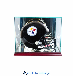 Rectangle Football Helmet Display Case - Cherry