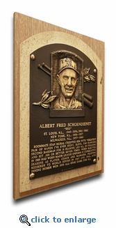 Red Schoendienst Baseball Hall of Fame Plaque on Canvas - St Louis Cardinals