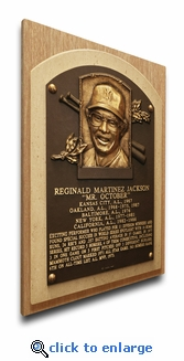 Reggie Jackson Baseball Hall of Fame Plaque on Canvas - New York Yankees