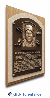Roberto Alomar Baseball Hall of Fame Plaque on Canvas - Toronto Blue Jays