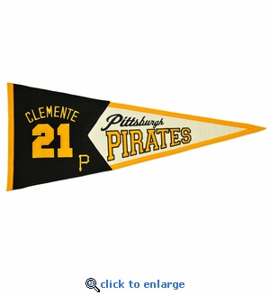 Roberto Clemente Legends Wool Pennant 13x 32 - Pittsburgh Pirates