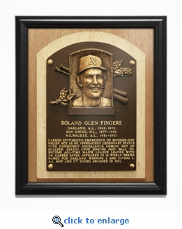Rollie Fingers Baseball Hall of Fame Plaque Framed Print - Oakland A's